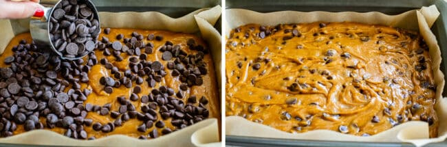 topping blondies with chocolate chips and mixing it in