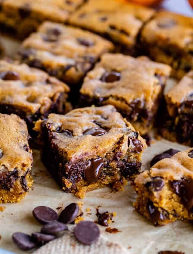 pumpkin bars with chocolate chips sliced on a pan