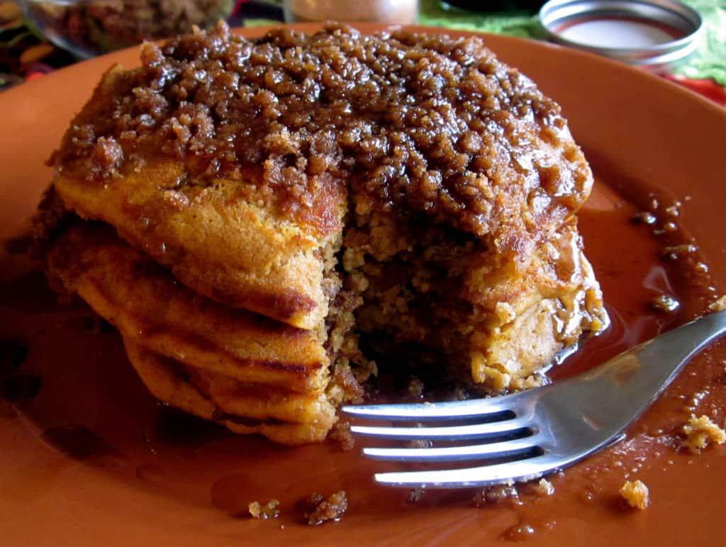 Pumpkin Cinnamon Streusel Pancakes - The Food Charlatan