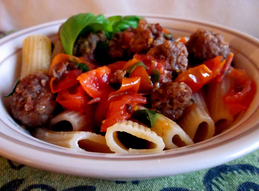 Italian Sausage with Tomatoes and Penne from TheFoodCharlatan.com
