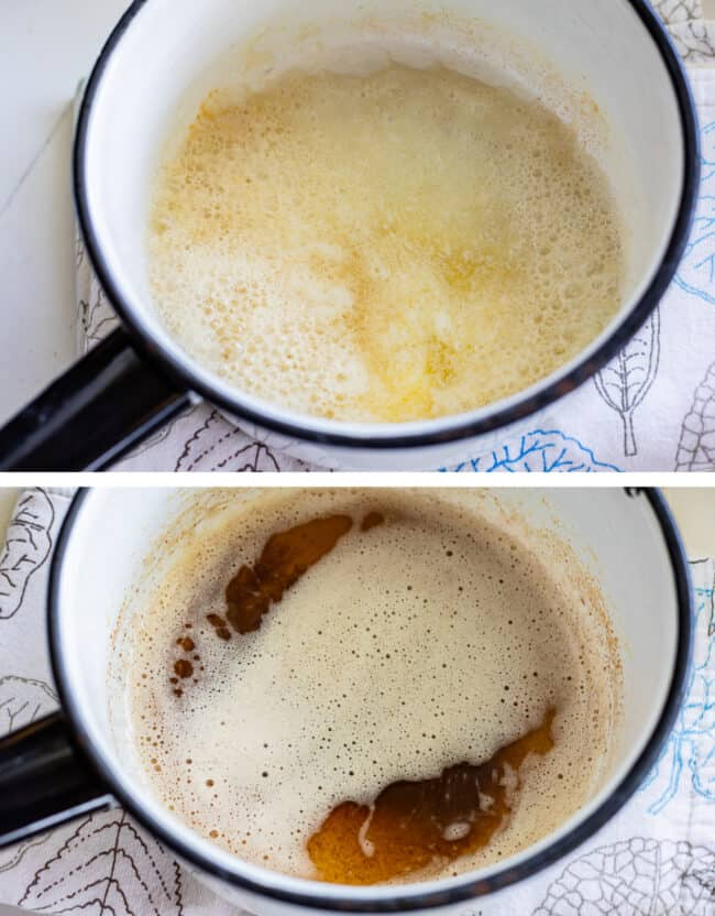 melted butter and browned butter in a white pot