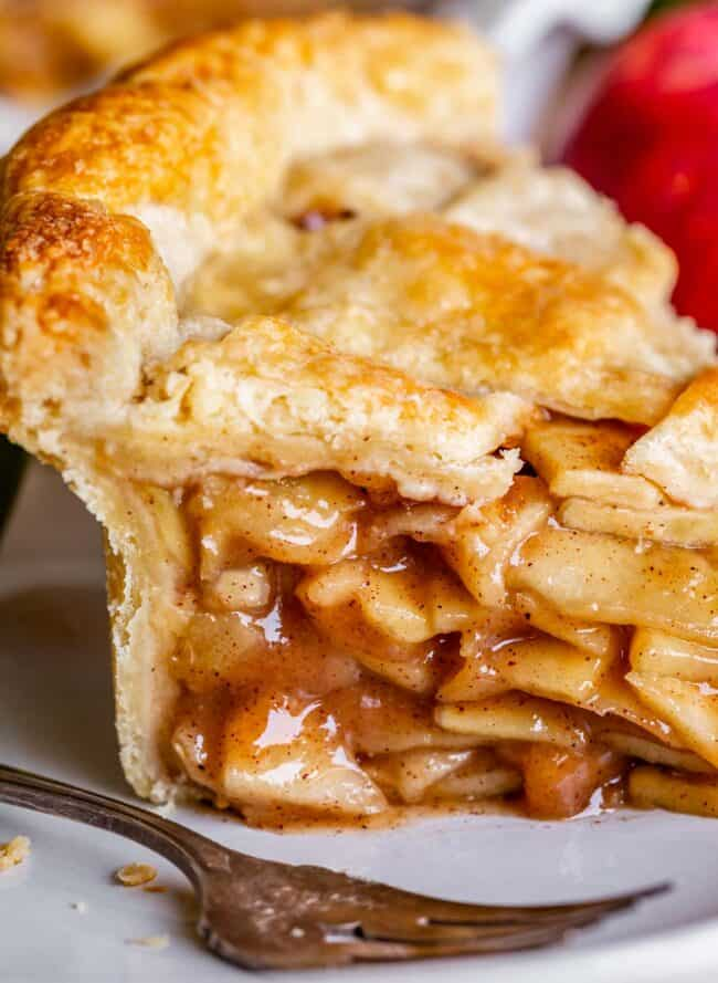best apple pie recipe in the world, sliced on a plate