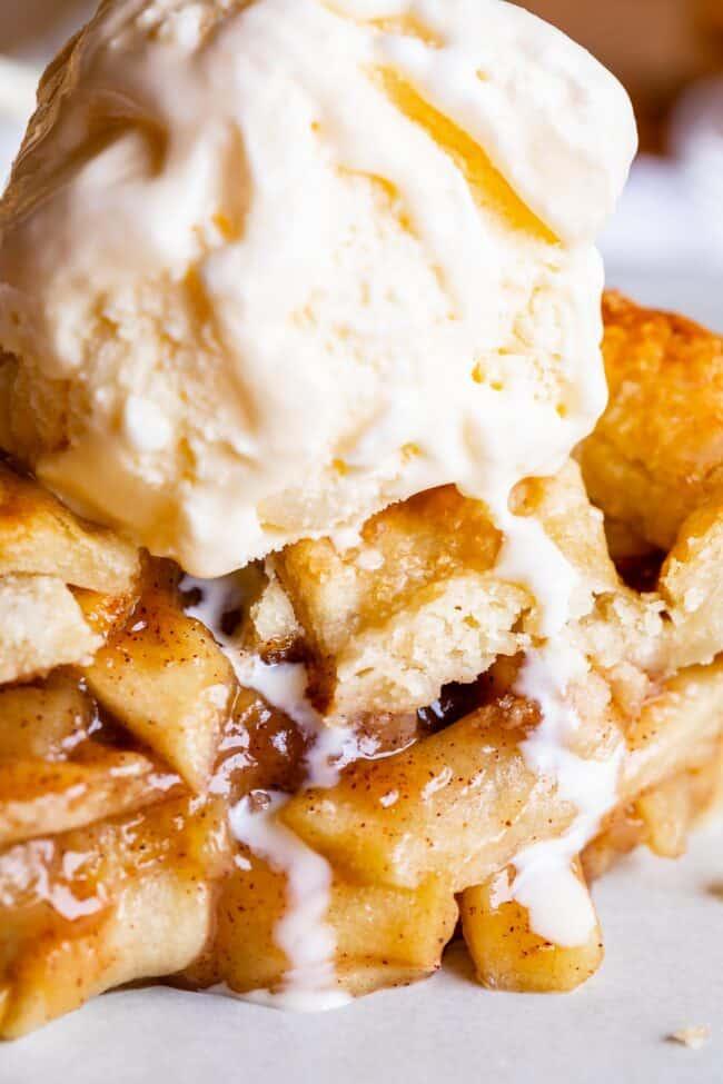 simple apple pie recipe with ice cream melting on top