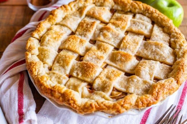 homemade pie with a lattice crust on a napkin