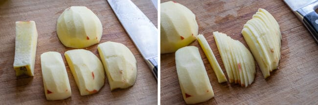 apples segments on a board ready to be sliced