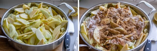 raw apples in a pan, cooked apples in a pan