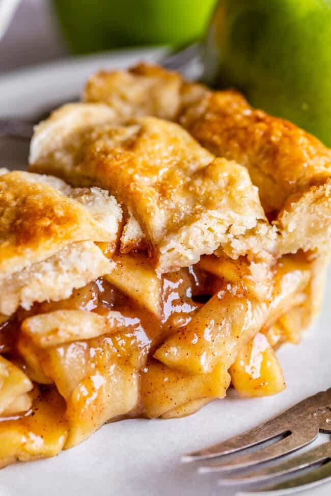 slice of homemade apple pie on a plate