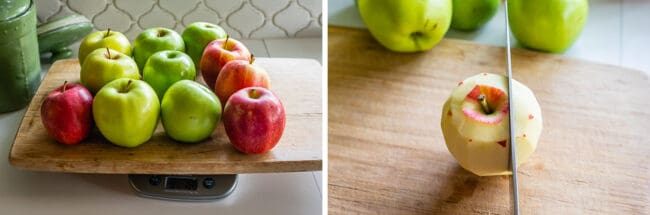 weighing apples on a scale, slicing a peeled apple