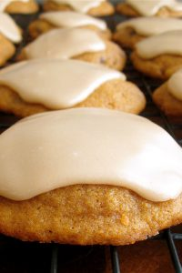 Pumpkin Chocolate Chip Cookies with Brown Sugar Icing from The Food Charlatan