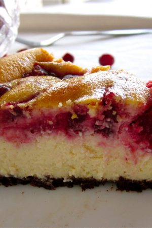 Cranberry Swirl Cheesecake from TheFoodCharlatan.com