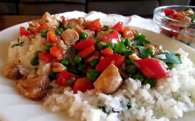 Kung Pao Chicken with Coconut Jasmine Rice from TheFoodCharlatan.com