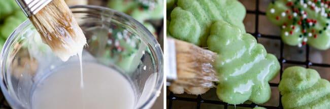 using a pastry brush to glaze spritz cookies wth glaze