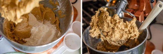 adding flour and dry ingredients to cookie dough in a stand mixer, finished dough