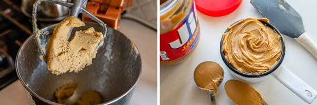 butter and sugar mixed together in a stand mixer, Jif jar and peanut butter in a cup
