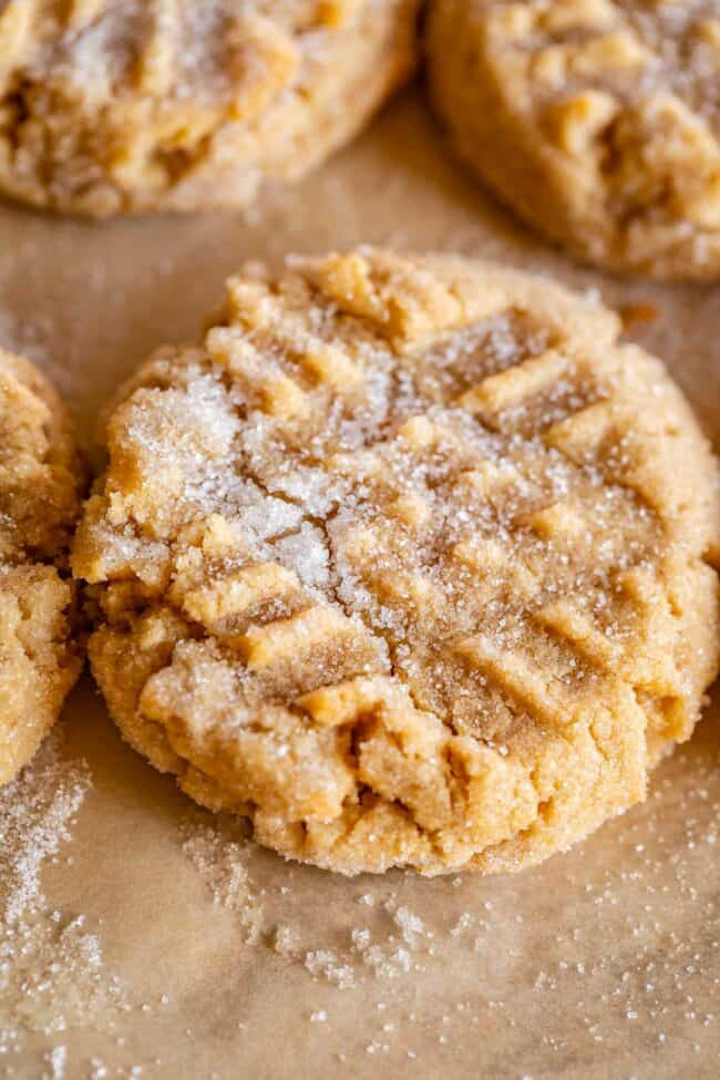 peanut butter cookie with the criss cross fork imprint, sprinkled with sugar