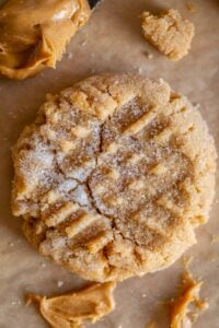 best peanut butter cookie recipe, shot from overhead with a crack down center