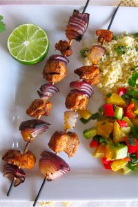 Chicken Kebabs with Nectarine Salsa from TheFoodCharlatan.com