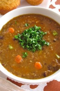 Lentil and Black Bean Soup from TheFoodCharlatan.com