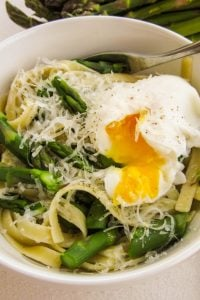 Asparagus and Poached Eggs over Pasta from TheFoodCharlatan.com