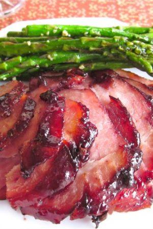 Raspberry Chipotle Glazed Ham from The Food Charlatan