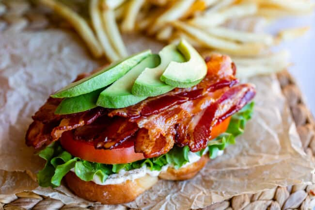 open face BLT recipe with mayo, lettuce, tomato, bacon, avocado