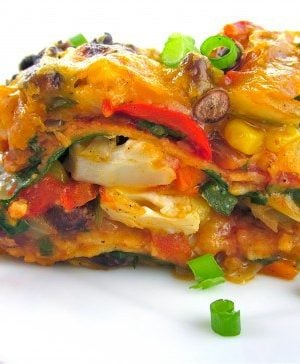 Stacked Roasted Vegetable Enchiladas from The Food Charlatan