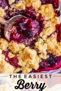 easy berry cobbler with a spoon