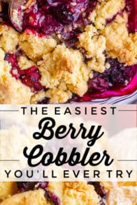 mixed berry cobbler in a pan