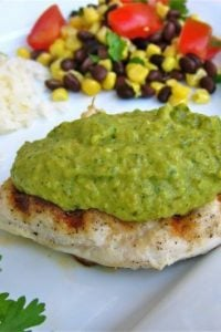 Chicken with Creamy Poblano, Tomatillo, and Avocado Sauce from TheFoodCharlatan.com