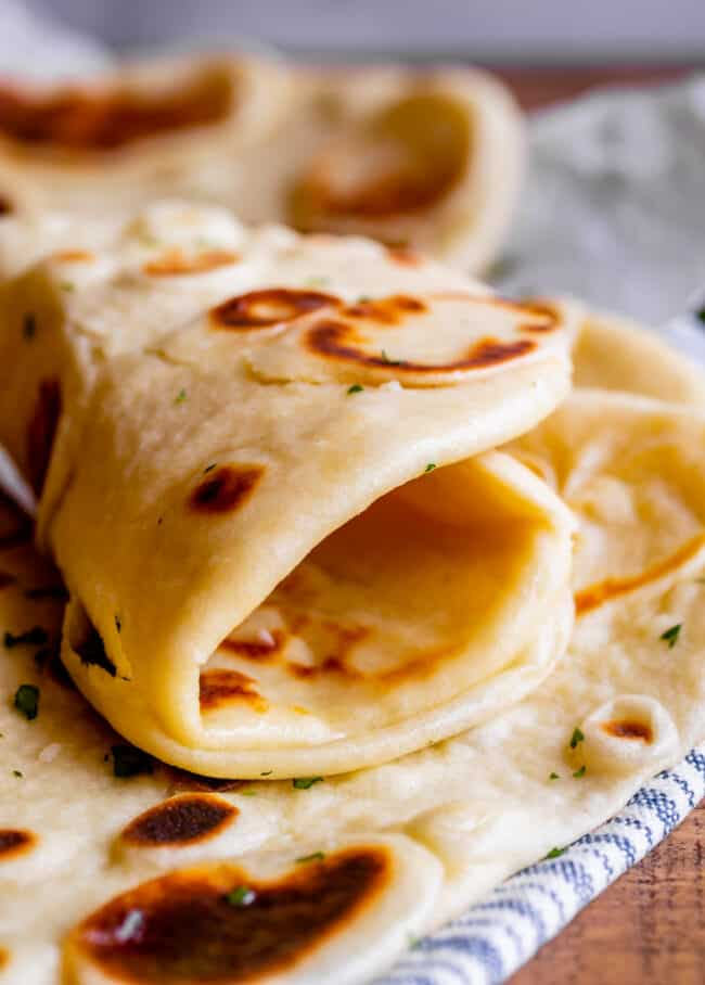 homemade naan bread rolled up
