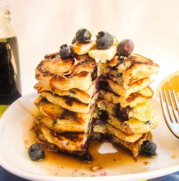 Lemon Blueberry Pancakes from TheFoodCharlatan.com