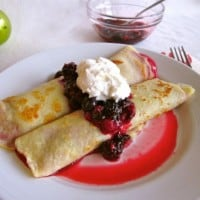 Cranberry Curd Crepes with Berries and Whipped Cream