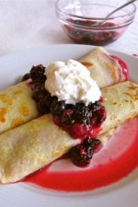Cranberry Curd Crepes with Berries and Whipped Cream from TheFoodCharlatan.com