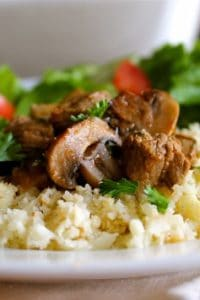Roasted Balsamic Mushrooms and Beef with Cauliflower Rice (Paleo) from The Food Charlatan