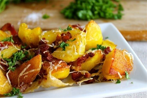 Oven Roasted Potatoes with Bacon and Parmesan from TheFoodCharlatan.com