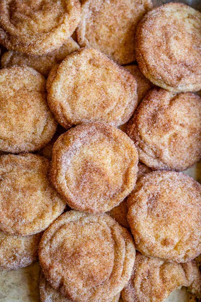 best snickerdoodle recipe with cookies spread out on a pan