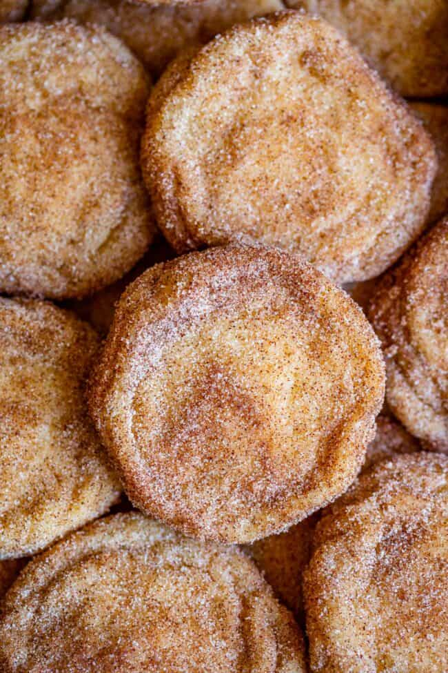 easy snickerdoodle recipe with cookies layered on a pan