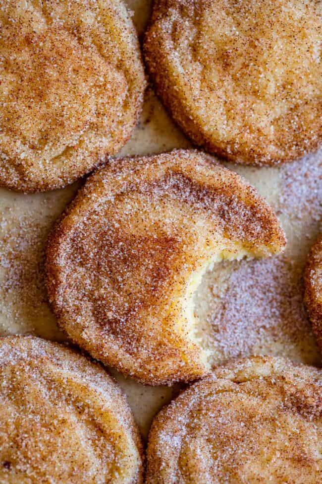 easy snickerdoodle recipe shot from overhead with a bite taken out