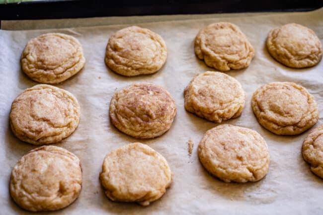 a pan of snickerdoodle cookies with cinnamon