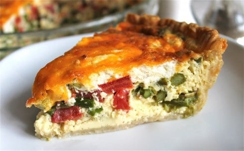 Asparagus, Tomato, and Goat Cheese Quiche from TheFoodCharlatan.com