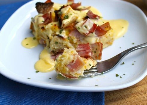 Overnight breakfast casserole with bread