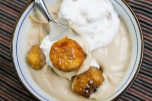 Butterscotch Pudding with Roasted Banana Whipped Cream