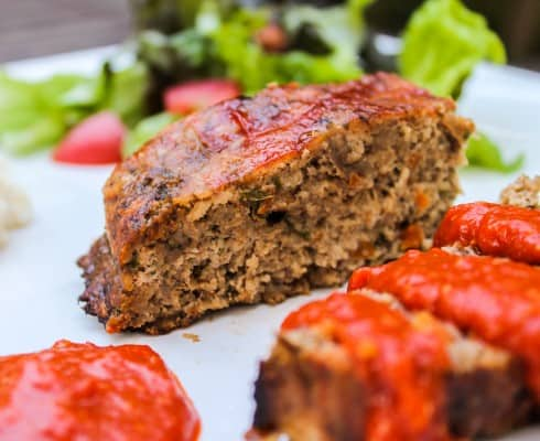 Turkey Meatloaf with ROasted Red Pepper Sauce from The Food Charlatan
