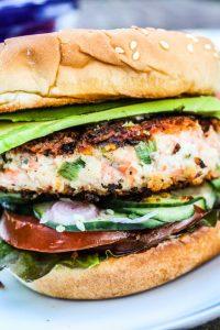 Asian Salmon Burgers with Wasabi Mayonnaise