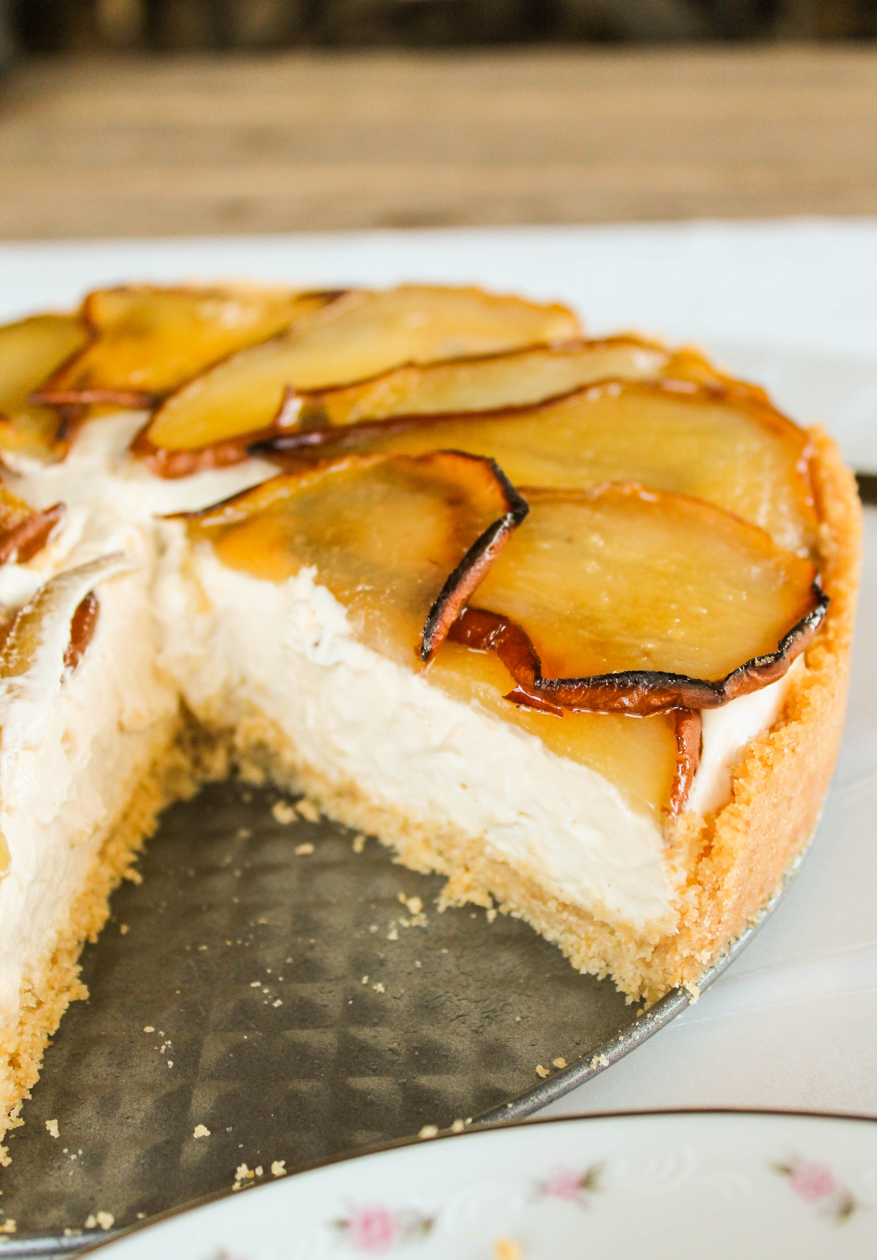 Maple Cheesecake with Roasted Pears - The Food Charlatan