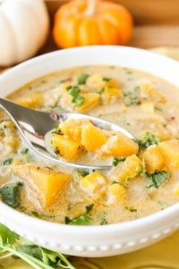 Pumpkin and Chipotle Corn Chowder (and How to Chop a Pumpkin)