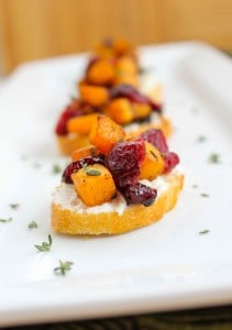 Butternut Squash, Cranberry, and Goat Cheese Crostini (and How to Chop a Butternut Squash)