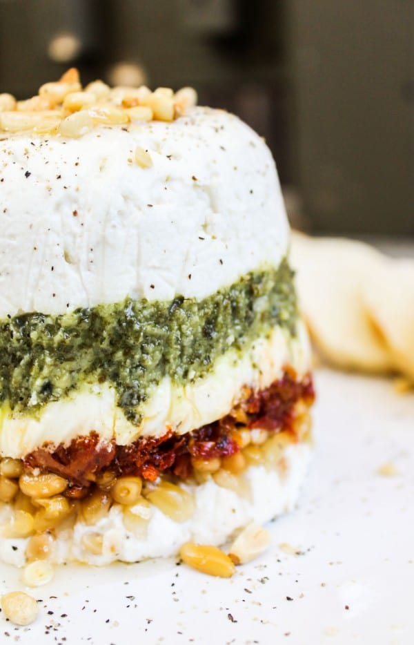 Goat Cheese, Pesto, and Sun-Dried Tomato Terrine