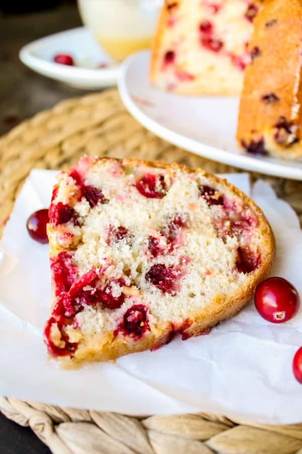 Cranberry Cake with Warm Vanilla Butter Sauce