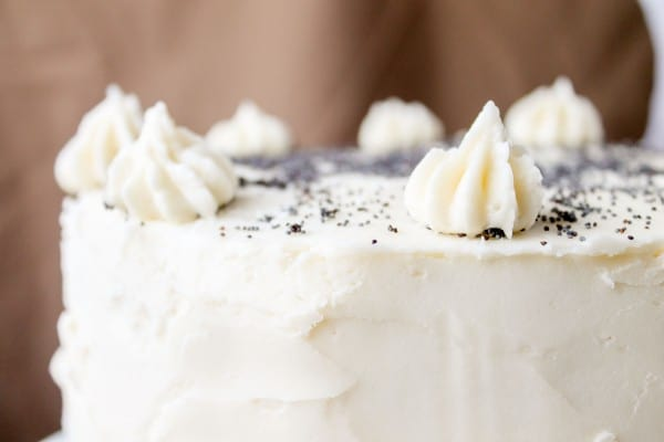 Spiced Poppyseed Cake with Almond Buttercream Frosting